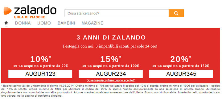 compleanno zalando sconti del 10 15 e 20. Black Bedroom Furniture Sets. Home Design Ideas