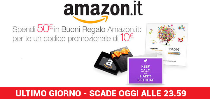Amazon: acquista 50 euro in Buoni Regalo e per te un Buono