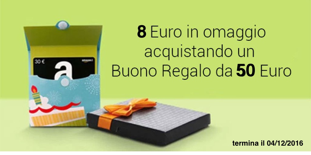 Amazon.it: acquista un buono regalo da 50 Euro e ricevi un