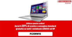 Solo per oggi sconto del 20% su notebook Lenovo e HP