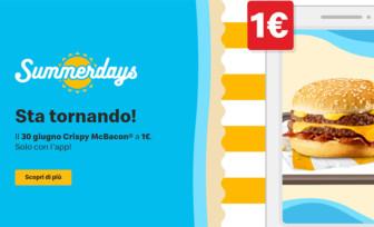 McDonald's Summer Days ritorna il 30 giugno con Crispy McBacon a 1€