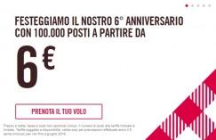 6° anniversario Volotea = 100.000 posti a partire da 6€