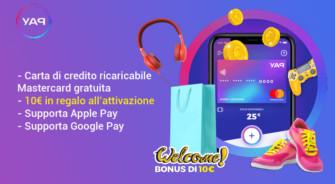 YAP: Carta di Credito MasterCard Gratis e 10€ subito in regalo fino al 29/02/2020