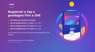 """YAP: Carta di Credito MasterCard Gratis e guadagni fino a 20€ gratis da spendere come vuoi + Bonus """"Presenta un amico"""" (agg. 19/06/19)"""